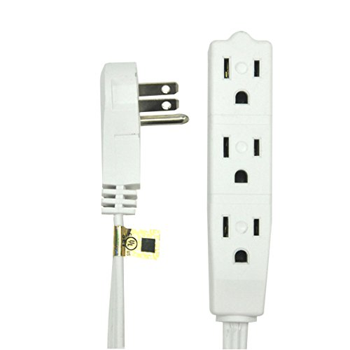 bindmaster 20 feet extension cord wire 3 prong grounded 3 outlets angeled flat plug white. Black Bedroom Furniture Sets. Home Design Ideas