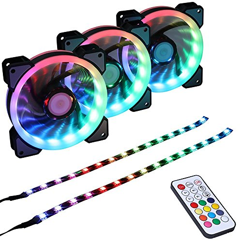 LEDdess RGB LED 120mm Case Fan with Controller for PC Cases